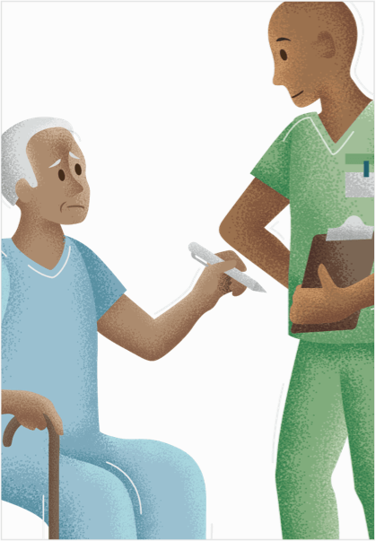 Elderly man looks disconcerned signing a form held by hospital staff